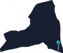 Map of New York State featuring New York City