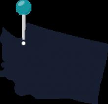 Map of Washington featuring Seattle