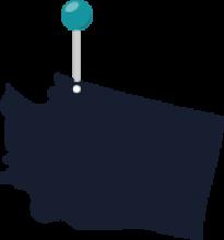 Map of Washington state featuring the Washington-Canadian border
