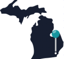 Map of Michigan featuring Detroit